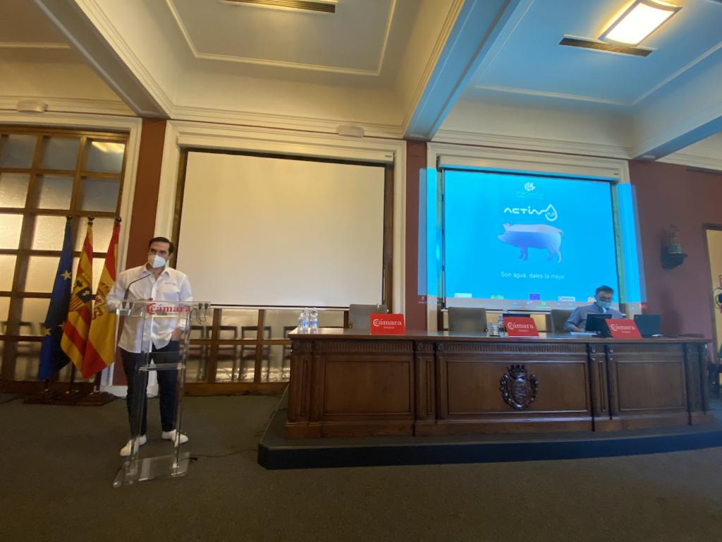 Hugo Pagalday (Tratamiento Activho SL) durante la exposición de sus resultados al Consejo Asesor de Porcinnova