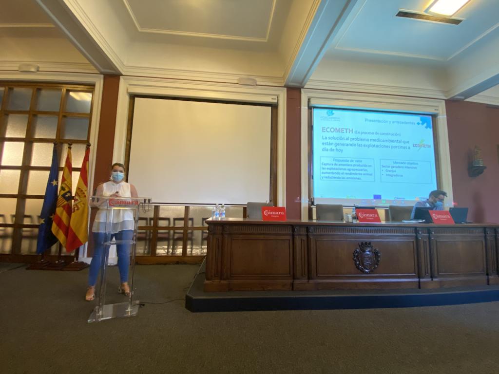 Paula Morella (Ecometh) durante la exposición de sus resultados al Consejo Asesor de Porcinnova