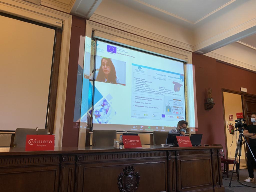 Ana Peñaranda (HOP UBIQUITOUS SL) durante la exposición de sus resultados al Consejo Asesor de Porcinnova