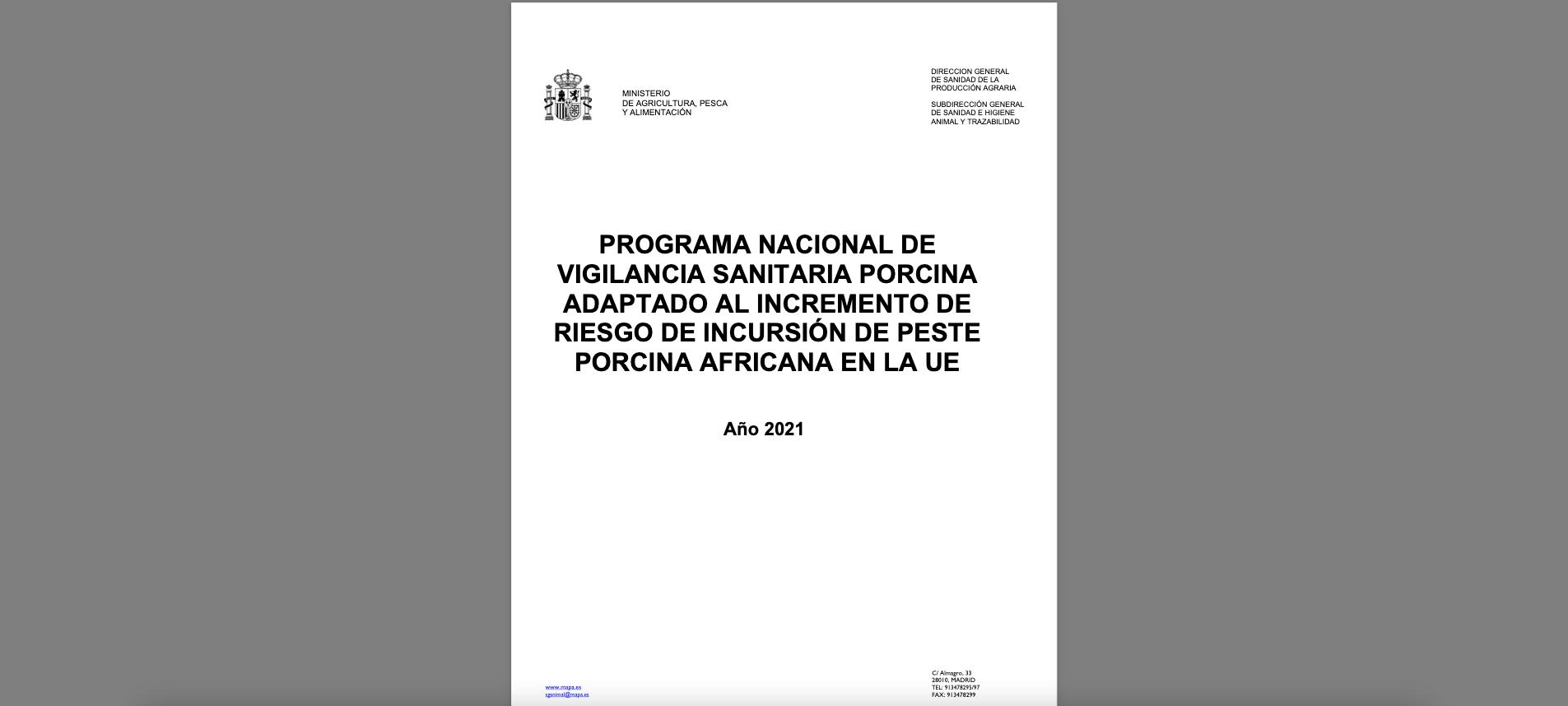 programa nacional de vigilancia sanitaria porcina